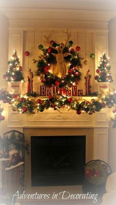 our 2012 christmas mantel, christmas decorations, seasonal holiday decor, Only thing missing is a fire Christmas Mantels, Christmas Home, Christmas Holidays, Christmas Wreaths, Christmas Crafts, Merry Christmas, Christmas Ornaments, Christmas Ideas, Christmas Fireplace