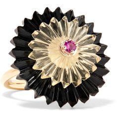 Alice Cicolini Summer Snow Dark 9-karat gold multi-stone ring (6.660 BRL) ❤ liked on Polyvore featuring jewelry, rings, gold, dark ring, dark jewelry, yellow gold jewelry, gold jewelry and flower jewelry