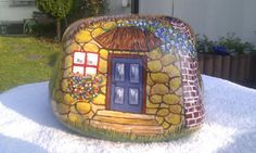 Painted rock house cottage (photo only)