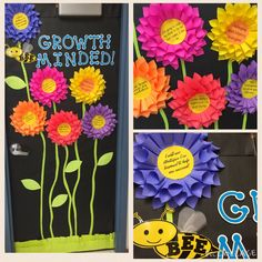 Growth Mindset Door Decoration For School Bulletin Boards Counseling Bulletin Boards, Classroom Bulletin Boards, Classroom Door, Classroom Displays, Classroom Themes, Preschool Bulletin, Garden Bulletin Boards, Flower Bulletin Boards, Bulletin Board Ideas For Teachers