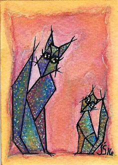 by JulisavART on Etsy Sharpie Paint Pens, Geometric Cat, Baby Cats, Atc, Watercolor Paper, Colored Pencils, Kitty, Hand Painted, This Or That Questions