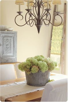 galvanized bucket filled with hydrangeas...also like the chandelier