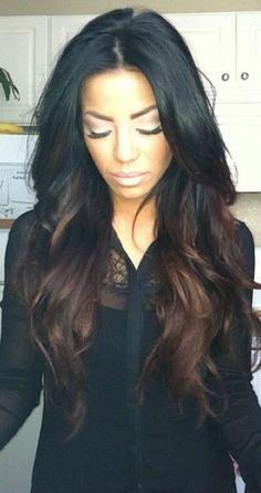 Dark brown ombré effect with jet black hair #gorgeous ❤