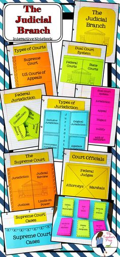 The Judicial Branch Interactive Notebook includes 8 different interactive activities to help students organize information and an answer key to use as a guide for each graphic organizer! 5th Grade Social Studies, Social Studies Activities, Teaching Social Studies, Interactive Activities, Teaching History, Teaching Activities, Interactive Notebooks, Teaching Resources, Judicial Branch