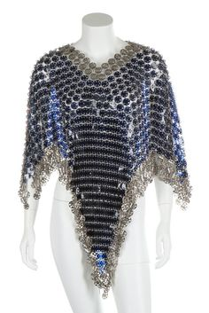 * Rhodoid and metal poncho, circa 1970 dark ink-blue rhodoid discs with pierced silver metal edging and fringes - Paco Rabanne