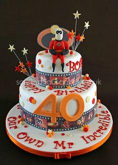 Everything edible including hand modelled Mr Incredible - PJ x Disney Themed Cakes, Disney Cakes, 1st Birthday Cakes, Birthday Ideas, Movie Cakes, Beautiful Cake Designs, Cake Pictures, Cake Pics, Superhero Cake