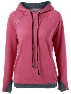$21.04 Raglan Sleeve Inclined Zipper Embellished Hoodie