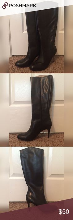 "Lands End Allaire High Heel Tall Boots in Espresso I'm asking $50 for these beautiful black leather boots with a 3 1/2"" heel. I've only worn these TWICE. URL:  http://www.landsend.com/products/womens-allaire-high-heel-tall-boots/id_243106 Lands' End Shoes Heeled Boots"