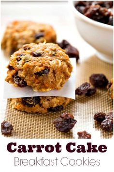 Carrot Cake Breakfast Cookie Recipe - great healthy breakfast that the kids will want to eat! Breakfast Cookie Recipe, Cookie Recipes, Real Food Recipes, Yummy Food, Pastry Recipes, Grab And Go Breakfast, Breakfast Time, Breakfast Specials, Mexican Breakfast