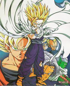 Goku, Gohan, Trunks, Vegeta, and Piccolo