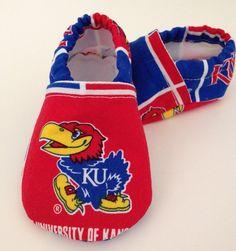 University of Kansas Jayhawks Cloth Baby Booties Shoes on Etsy, $15.00