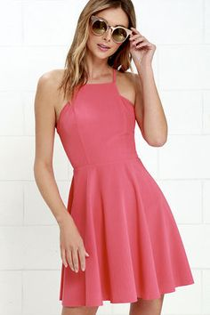 d68cb62b28 Call to Charms Coral Pink Skater Dress