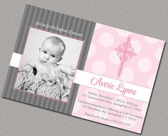 Baptism Invitation or Christening Invitation, custom colors.
