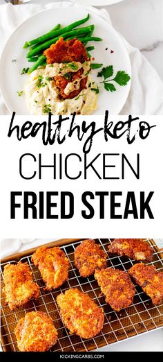 Anytime I can satisfy my cravings for comfort food in a way that doesn't involve a lot of carbs I am ecstatic. Healthy Keto Chicken Fried Steak is one of my go-to dinners. I prepare the breading as part of my weekly meal prep, which makes this keto dish an easy weeknight meal. #kickingcarbs #lowcarbrecipe #ketodinner #keto #Ketocomfortfood Gluten Free Recipes For Dinner, Healthy Gluten Free Recipes, Dinner Recipes, Chicken Fried Steak, Keto Chicken, Keto Lunch Ideas, Meal Prep For The Week, Easy Weeknight Meals, Perfect Food