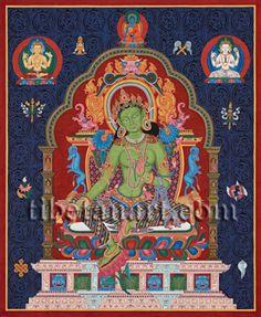 Green Tara (early Newar) Giclee Print by Shuka Raj at Tibetan Art Monochrome Painting, Long Painting, Thangka Painting, Buddhist Traditions, Green Tara, Tibetan Art, Cleveland Museum Of Art, Black And White Painting, Buddhist Art