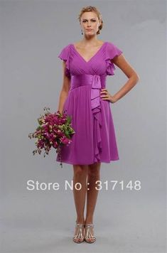 5c82c5aed Beautiful Attractive V-Neck Ruffled Knee-length Bridesmaid Dress - Shop  Online for Cheap Bridesmaid Dresses