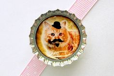 Mustache Cat Bottle Cap Magnet  funny cat mustache by CherryCute