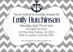 nautical gray chevron shower invites