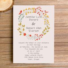 affordable bohemian floral elegant wedding invitation EWI300 *SENT MAIL ABOUT BILINGUAL