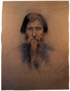 """Portrait of G.E. Rasputin, 1914  by Elena Nikandrovna Klokacheva    Signed and dated bottom right: О. Клокачева, иЮны 1914  Coloured pencil, pastel on grey card, 81.5 x 56 cm    This is an extremely rare portrait of Rasputin, whose face is known principally from photographs. Rasputin, a """"staryetz"""" (monk or spiritual advisor) had an extraordinary influence over Empress Alexandra Feodorovna, her daughters, and even Nicholas II himself, for the simple reason that he seemed able to relieve the…"""