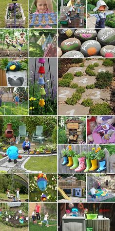 Garden junk, love garden, child friendly garden, unique gardens, back garde Diy Projects For Kids, Diy Garden Projects, Garden Crafts, Diy Garden Decor, Garden Art, Garden Ideas, Garden Design, Outdoor Garden Decor, Garden Decorations