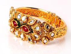 Designer Jadtar Green & Red Coloured Kada Bangles on Shimply.com