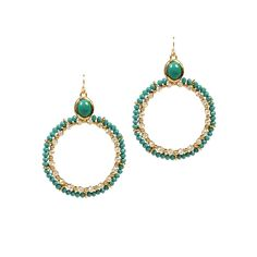 Kenneth Jay Lane Crystal Hoop Earrings Gold/Turquoise up to 70% off | Jewelry | Little Black Bag