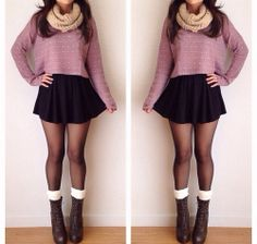 skater skirt with boots and tights