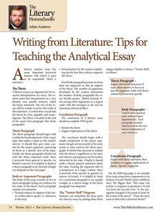Writing from Literature: Tips for Teaching the Analytical Essay – By Adam Andrews The Old Schoolhouse Magazine - Winter 2015 - Page 74-75