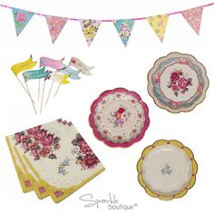 Truly Scrumptious Vintage Tea Party Set -Plates,Napkins,Cake Decorations,Bunting