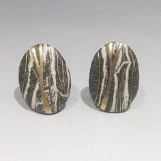 """Andrea Williams: , Stone earrings with 18k yellow gold inlay and sterling silver omega posts. 1 x 3/4"""""""