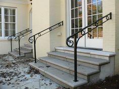 custom exterior hand railings of aluminum, designed & created by Maynard Studios. Step Railing Outdoor, Outside Stair Railing, Porch Step Railing, Porch Handrails, Exterior Stair Railing, Outdoor Stair Railing, Metal Stair Railing, Iron Handrails, Porch Steps