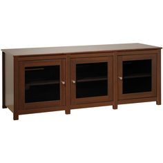 Everett Espresso Flat Panel Plasma / LCD TV Console with Glass Doors - Overstock™ Shopping - Great Deals on Entertainment Centers