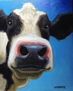 TheWindyLilac.com-Sharing All Things Home-FARMHOUSE DECOR-Cow Art by Jenny/Jennifer Counts♥♥ Cow Portrait. Great Decorating Idea for Farmhouse, Country and Rustic Decor!