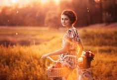Photograph *** by Anna Kolmakova on Environmental Portraits, Portrait Photography, Summertime, Disney Characters, Fictional Characters, Bicycle, Disney Princess, People, Beautiful