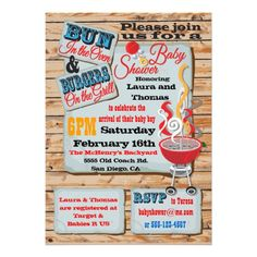 Bun in the oven & burgers on the grill invite.  Would be cool for our lake family baby shower :)