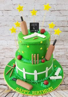 Cricket theme customised 2 layer designer fondant cake with bat, ball, stumps, scoreboard for cricket fan's birthday at Pune. Everything is eggless and edible. For my other creations, please visit my website. Cricket Birthday Cake, Cricket Theme Cake, Sports Birthday Cakes, Sports Themed Cakes, Make Birthday Cake, Bithday Cake, Birthday Ideas, Birthday Wishes, Skittles Cake