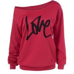 Skew Collar Love Pattern Sweatshirt ($18) ❤ liked on Polyvore featuring tops, hoodies, sweatshirts, print top, red sweatshirt, patterned sweatshirt, collared sweatshirt and patterned tops