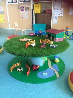 Farm made on large cable drum. Tractor, rabbits and tree painted on middle. Artificial grass on top. Varnished to finish.