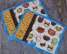 Quilted Mug Rugs Reversible Cool Cats - Set of 2. $12.00, via Etsy.