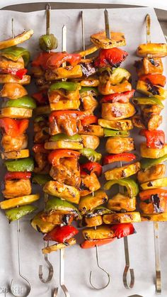 Grilling Recipes, Cooking Recipes, Healthy Recipes, Chicken Kabob Recipes, Hawaiian Chicken Kabobs, Shish Kabobs Chicken, Chicken Cabobs, Grilled Pineapple Recipe, Grilled Pineapple Chicken