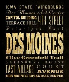 Des Moines Iowa Typography Subway Art Canvas/ by LegacyHouseArt on Etsy
