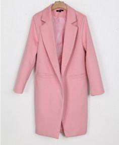 Long Sleeves Lapel Woollen Coat   - Clothing
