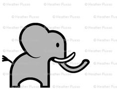 this cartoon elephant is so cute and simple. i want to draw it on everything i own.