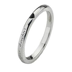 """Quote jewellery, Affirmations """"Daughter"""" Inscription Motif Sterling Silver Stacking Quote Ring"""