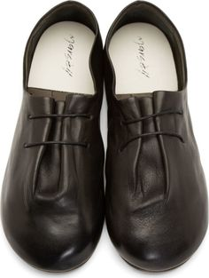 Marsèll: Black Leather Gathered Bouron Derbys | SSENSE - elastic instead of cord
