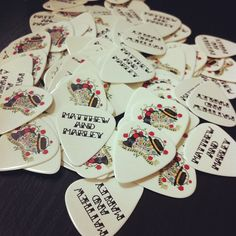 Sugar skull themed wedding guitar picks