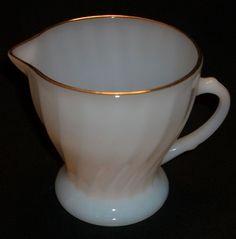 Anchor Hocking Fire King Dinnerware Milk Glass White w/ Gold Rim Swirl Creamer