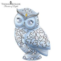 A FIRST! Limited-edition owl inspired by Thomas Kinkade's artistry! Features bas-relief designs, his signature lantern, Swarovski crystal eyes, more.