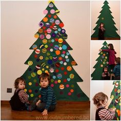Decoración árbol de navidad con niños pequeños